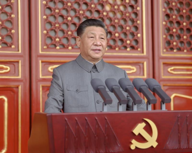 7月1日,庆祝中国共产党成立100周年大会在北京天安门广场隆重举行。中共中央总书记、国家主席、中央军委主席习近平发表重要讲话。新华社记者 鞠鹏 摄